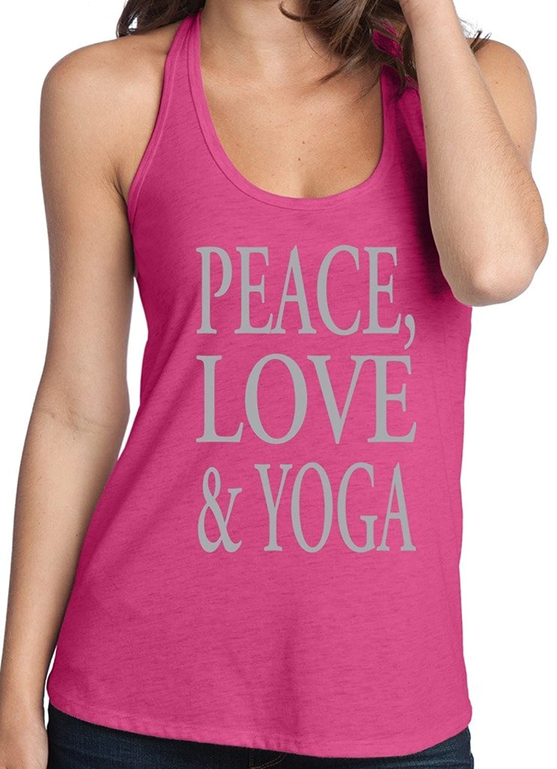 Yoga Clothing For You Ladies Peace, Love & Yoga T-back Tank Top