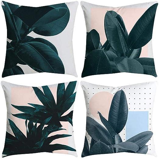 VJGOAL impresión de Moda hogar Decorativo Suave sofá cómodo Cojín Cuadrado Funda de Almohada 4 Piezas Conjunto(45_x_45_cm,Multicolor10)