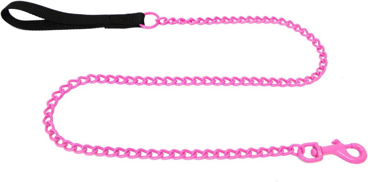 Platinum Pets 4mm Coated Chain Dog Leash with Nylon Handle Candy Apple Red