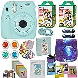 Fujifilm Instax Mini 9 Instant Camera + Fuji INSTAX Film (40 Sheets) Includes Camera Case + Frames + Photo Album + 4 Color Filters and More Top Accessories Bundle (Star Ice Blue)