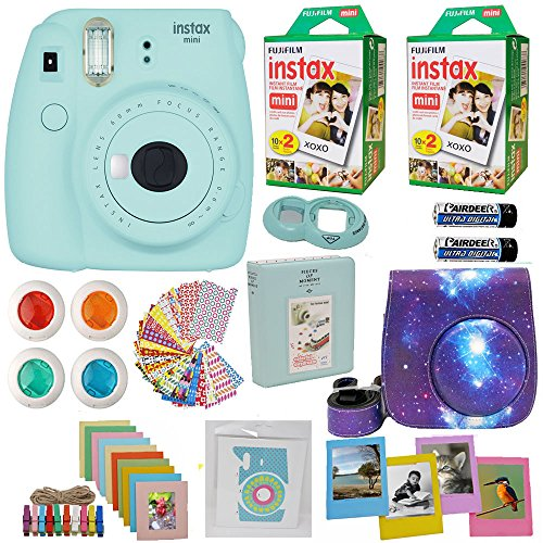 Fujifilm Instax Mini 9 Instant Camera + Fuji INSTAX Film (40 Sheets) Includes Camera Case + Frames + Photo Album + 4 Color Filters and More Top Accessories Bundle (Star Ice Blue)