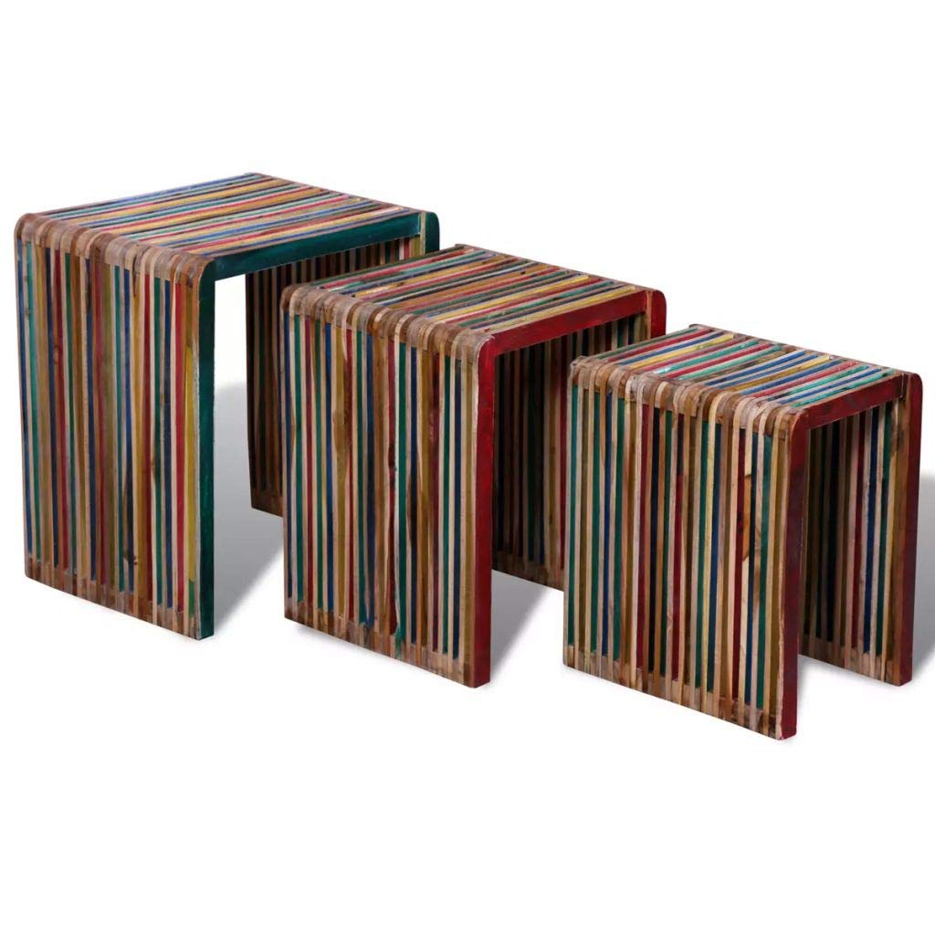 Vislone 3er Set Couchtisch, Satztische, Beistelltisch, für Wohnzimmer, Schlafzimmer, Vintage Bunt Recyceltes Teak