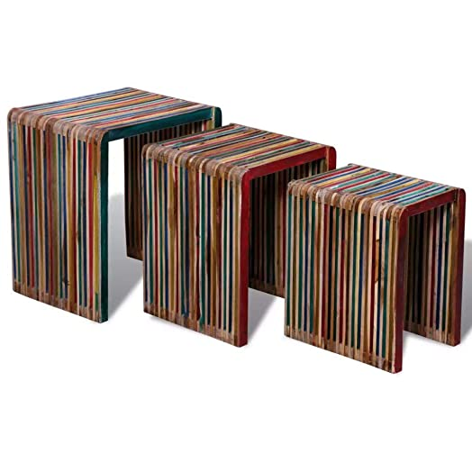 Tidyard Vintage Nesting Coffee Table Set End Side Tables Decor for Home and Office, Colorful Reclaimed Teak, Set of 3