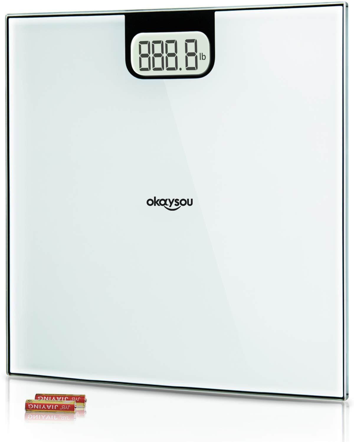 Okaysou All-New Bathroom Scale, Accurate Digital Body Weight Scale with Large 3.6'' Backlit LCD Display, Step-On Technology, 400 Pound Capacity