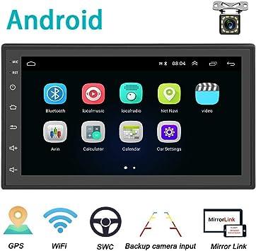 Android Coche Radio 2 DIN GPS CAMECHO 7 Pulgadas capacitiva Pantalla táctil Completa Bluetooth WiFi Reproductor de Radio FM Duplicar Pantalla para teléfonos iOS Android + Cámara de Respaldo: Amazon.es: Electrónica