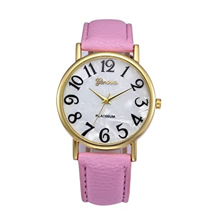 Xinantime Relojes Pulsera Mujer,Xinan Digital Retro Dial Cuero Banda Relojes de Cuarzo (Rosa