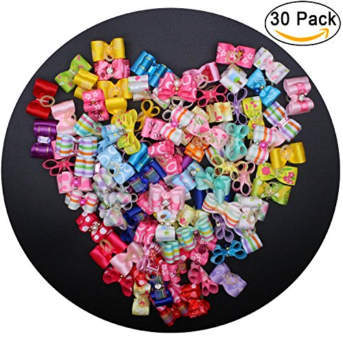 Diy Eskimo Costume - YOY 30 Pcs Adorable Grosgrain Ribbon Pet Dog Hair Bows with Elastics Ties - Stretchy Rubber Bands Doggy Kitty Topknot Grooming Accessories Set for Long Hair Puppy Cat