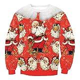 BCDshop Women Christmas Novelty Sweatshirt Xmas Santa Claus Print Blouse Lady Top(Red, L)