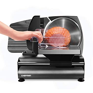 """Chefman Die-Cast Electric Deli Slicer, Precision Food Slicer; Meat, Cheese, Bread, Fruit & Vegetables, Adjustable Thickness Dial, Removable & Retractable 7.5"""" Serrated Stainless Steel Blade, Non-Slip Feet, Space Saving, 180 Watt, Black"""