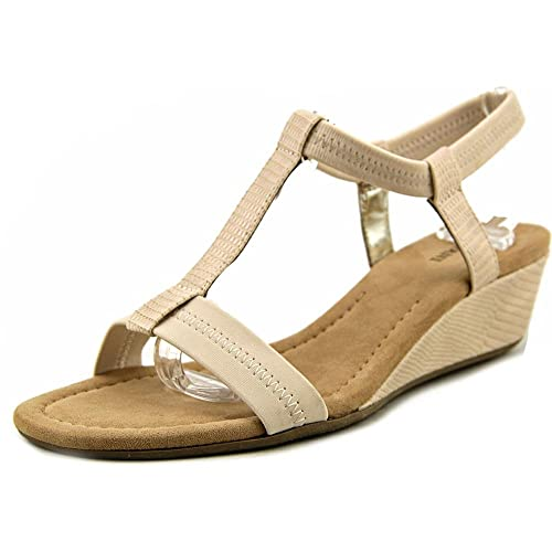 70ac3291f5f3 Alfani Womens Voyage Faux Leather T Strap Wedge Sandals Beige 5 Medium (B
