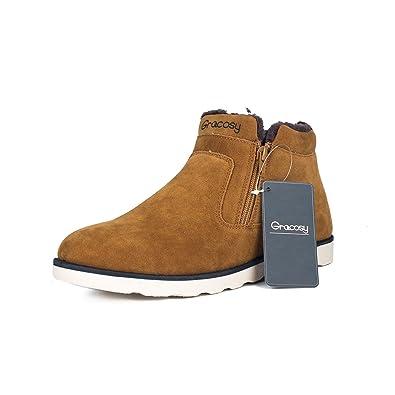 Gracosy Winterstiefel, Unisex Leicht Schneestiefel Warm Gefütterte Schuhe Winter Sneakers Bootsschuhe Kurzschaft Stiefel für Damen Herren Blau 39
