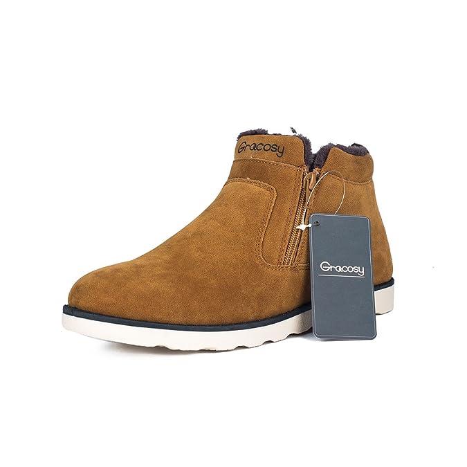 Gracosy Winterstiefel, Unisex Leicht Schneestiefel Warm Gefütterte Schuhe Winter Sneakers Bootsschuhe Kurzschaft Stiefel für Damen Herren Braun 37