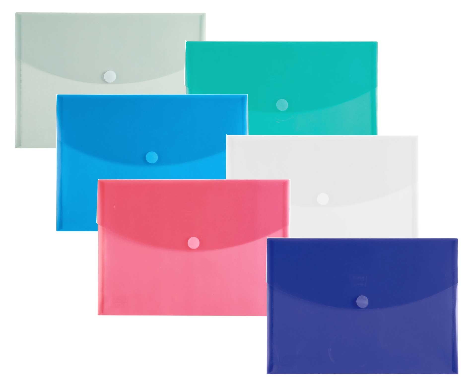 Filexec 50037-1720 1720, Poly Envelope, Velcro Closure, Letter Size, Set of 12 in 6 Assorted Colors, 2 Each Smoke, Blue, Red, Clear, Purple, Green