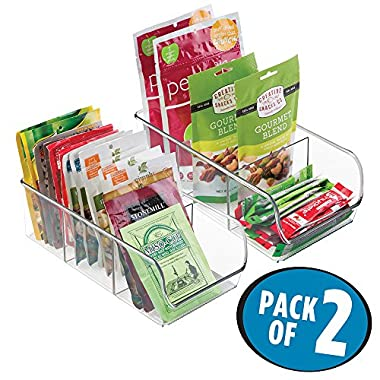mDesign Refrigerator, Freezer, Pantry Cabinet Organizer Bins for Kitchen - 11  x 5.5  x 3.5 , Pack of 2, Divided, Clear