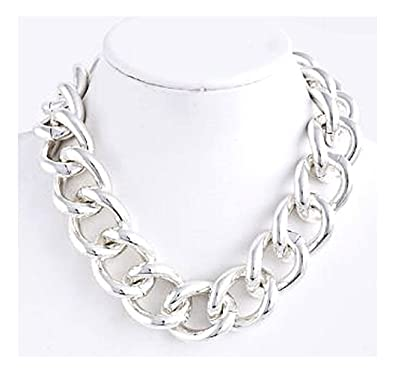 dd6198dd2 Amazon.com: Chunky Silver Chain Necklace - Chunky Silver Necklace ...