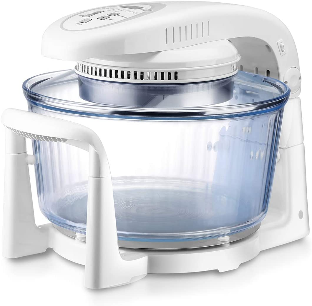 Air Fryer,Oil Free,Extendable 12.7QT to 18QT,French Arcopal Glass Bowl 360 degree visibility while cooking