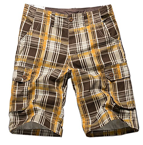 (Special 2 Ivnfout Men's Plaid Patchwork Cotton Cargo Shorts(992Yellow38))
