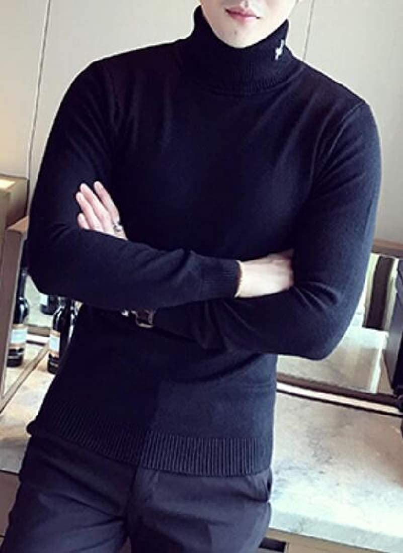 UNINUKOO Unko Mens Winter Long Sleeve Cotton Casual Turtleneck Pullover Sweaters