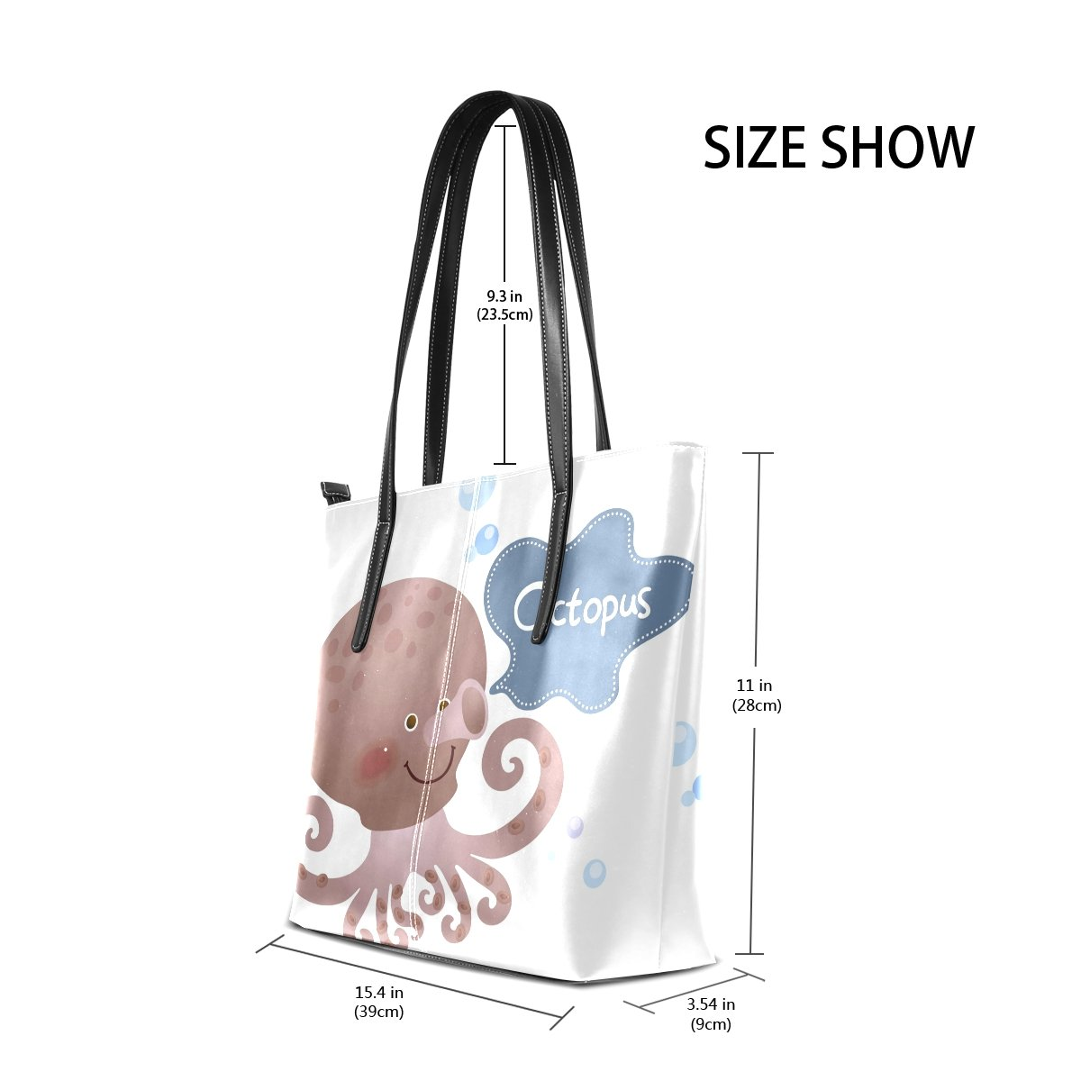 Women Leather Handbags Funy Cuttlefish Top Handle Shoulder Bags