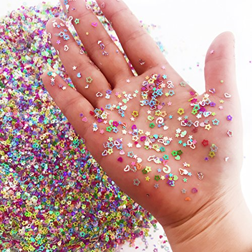 Amersumer 7.2oz/200g Multicolor Manicure Glitter Confetti,Mixed Shapes Size 2-4mm For Party Decoration,DIY Crafts,Premium Nail Art (Gift Bag Balloon Weight)