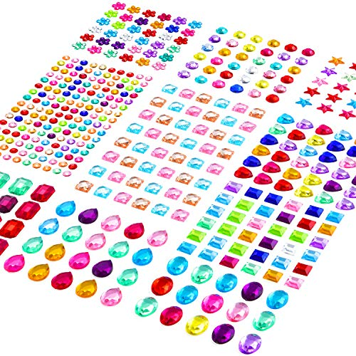 12 Sheets 645 Pieces Bling Rhinestone Sticker Self Adhesive Jewels Sticker Rhinestone Crystal Gemstone Stickers for Craft DIY Decorations (12 Sheets)
