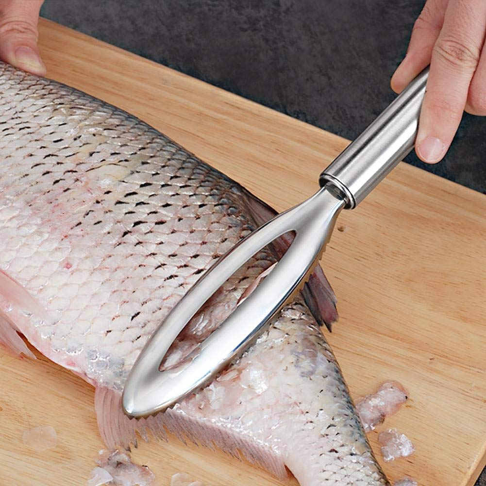 2PCS Fish Scale Planer, Stainless Steel Manually Removing Scales Brush Scraper Scraping Tool Remover Descaler