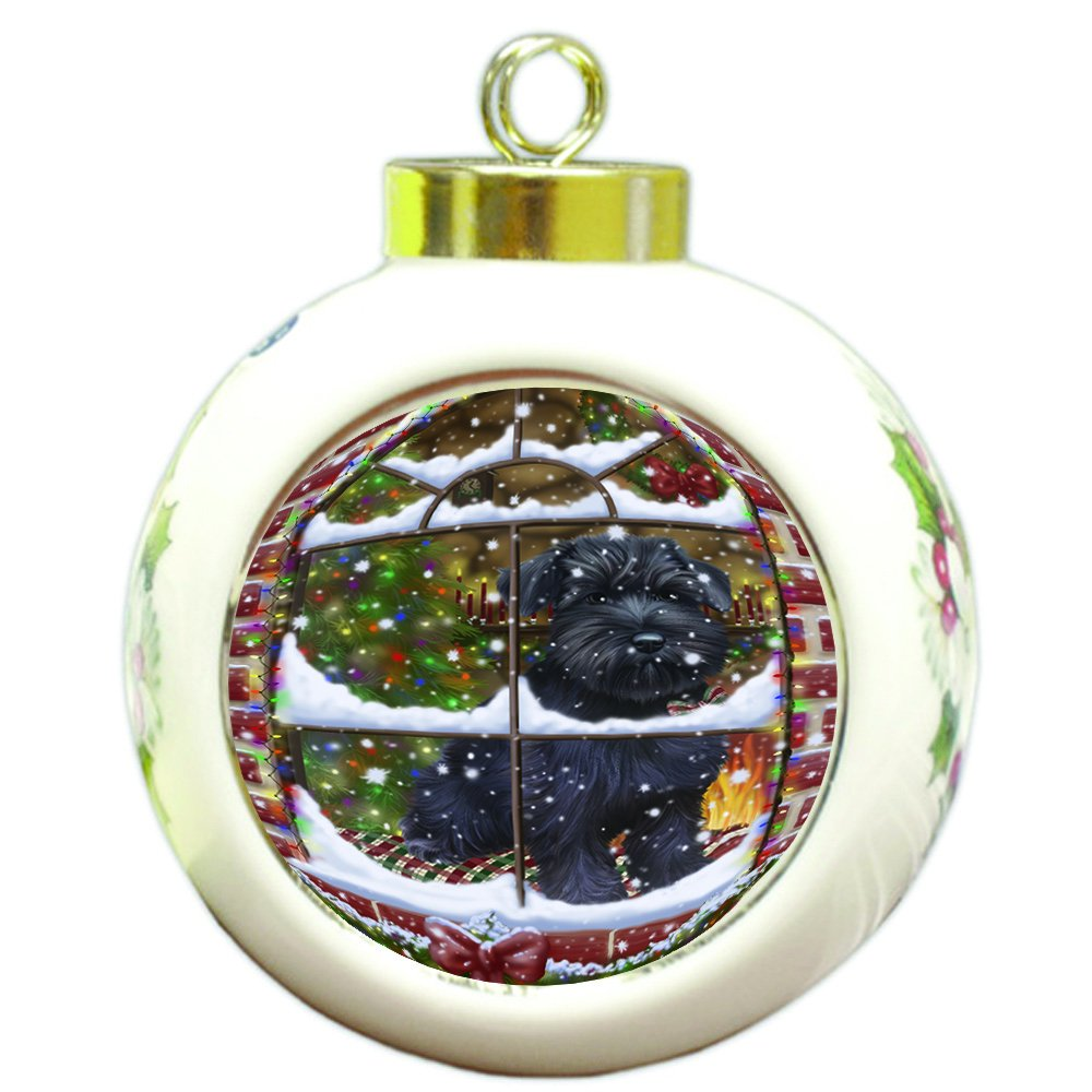 Please Come Home For Christmas Schnauzer Dog Sitting In Window Round Ball Christmas Ornament RBPOR48425