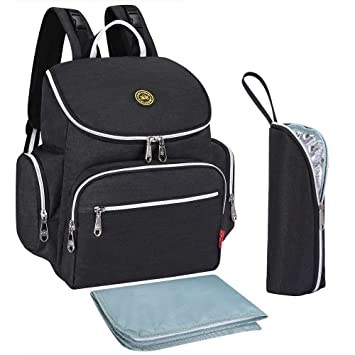 935085499101 Amazon.com   Qimiaobaby Multi-Function Baby Diaper Bag Backpack with  Changing Pad and Portable Insulated Pocket (Black)   Baby