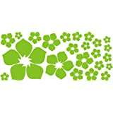 ufengke® 23 Piezas Pequeñas Flores Pegatinas de Pared, Sala de Estar Dormitorio Removible Etiquetas de la pared / Murales, Verde Claro