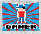 Video Games Blue and Red Stripes Boom Beams Retro 90s Style Toys Boy with Cap Gamepad 80WX60L Red Blue White Black Supersoft Throw Fleece Blanket 49.21x78.74 Inches