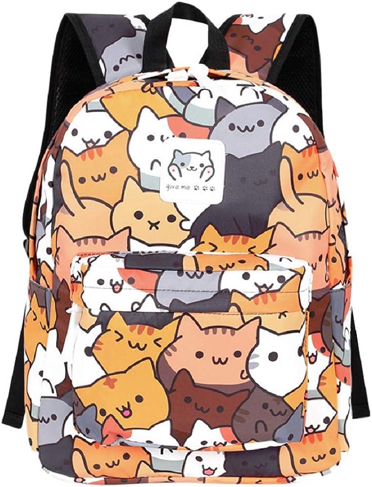 GK-O Neko Atsume Canvas Backpack Cute Cat School Shoulder Bag Laptop Bag