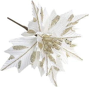 6Pcs Christmas Artificial Flowers Leaves,Silk Glitter Poinsettia Xmas Tree Ornaments,Faux Poinsettia DIY Flower Centerpiece Arrangement Props Christmas Home Wedding Hotel Party Decor White