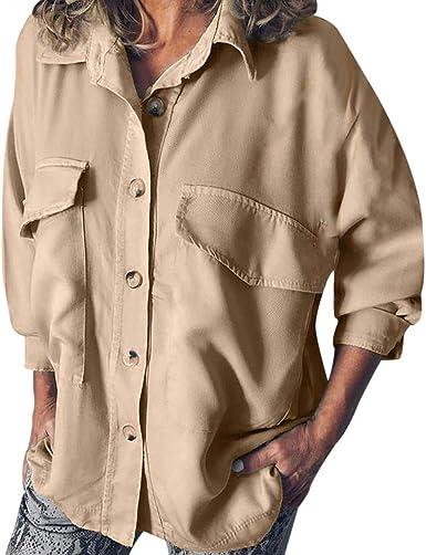 Camisa de Herramientas Moda Mujer Manga Larga Color Sólido Doble Bolsillo Blusa Casual: Amazon.es: Ropa y accesorios