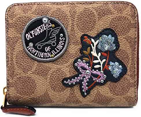 7639152882acb Coach Small Zip Around Wallet In Signature Canvas With Patches B4 RU