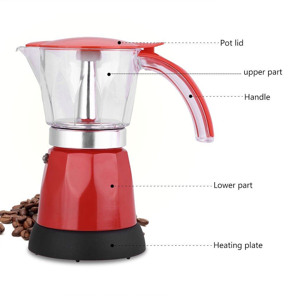 Acquisto Moka Espresso Maker, ASHATA Moka Express 6 Tazze Espresso Maker 300 ml Cafe Maker, 480W Electric Espresso Maker Moka Pot Espresso Maker Caffettiera 2 colori EU (Rot) Prezzi offerta