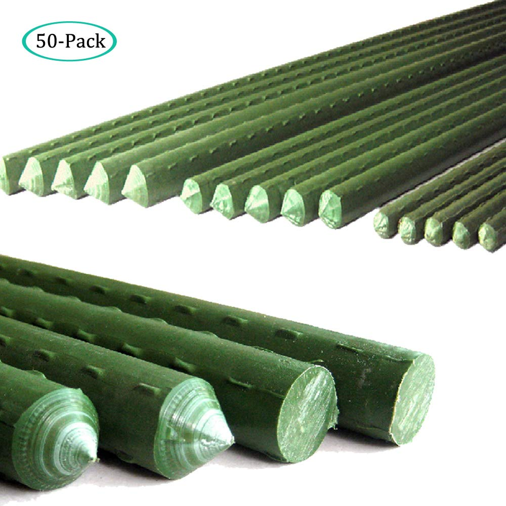 G-LEAF Sturdy Metal Garden Stakes 4 Ft Plastic Coated Steel Tube Plant Sticks for Tomato,Cucumber,Strawberry, Bean,Tree,Pack of 50