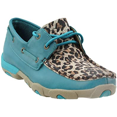 Twisted X Womens Turquoise/Leopard Driving Moccasins Turquoise 5.5 M