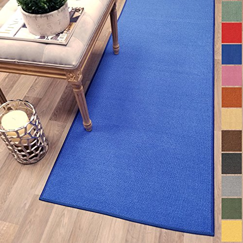 (Custom Size Blue Solid Plain Rubber Backed Non-Slip Hallway Stair Runner Rug Carpet 22 inch Wide Choose Your Length 22in X 10ft)