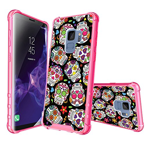 (MINITURTLE Case Compatible with Samsung Galaxy S9 (2018) [Pink Bumper Case] Protective Case w/Reinforced Pink PC Bumper + Transparent TPU Clear Back & Design - Black Pink Sugar Skulls)