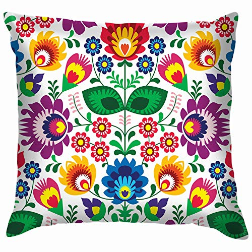 Traditional Floral Polish Folk Vintage Cotton Linen Home Decorative Throw Pillow Case Cushion Cover for Sofa Couch 18X18 Inch