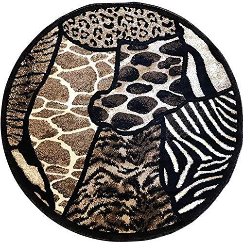 Animal Skin Print Tiger Giraffe Leopard Round Rug Black Design 516 (5 Feet 3 Inch X 5 Feet 3 Inch)
