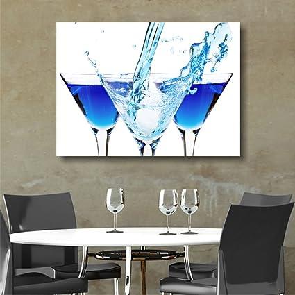 Quadri L C Italia Blu Cocktail Quadro Per Bar Ristorante Cucina Moderna 70 X 50 Stampa Su Tela Canvas Da Parete Amazon It Casa E Cucina