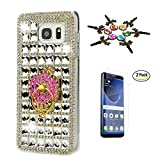 kumihimo stand - Samsung Galaxy S8 Plus Case, STENES 3D Handmade Luxurious Crystal Sparkle Diamond Rhinestone Hybrid Cover with Screen Protector & Retro Anti Dust Plug - Lattice Grid Camellia Ring Stand / White