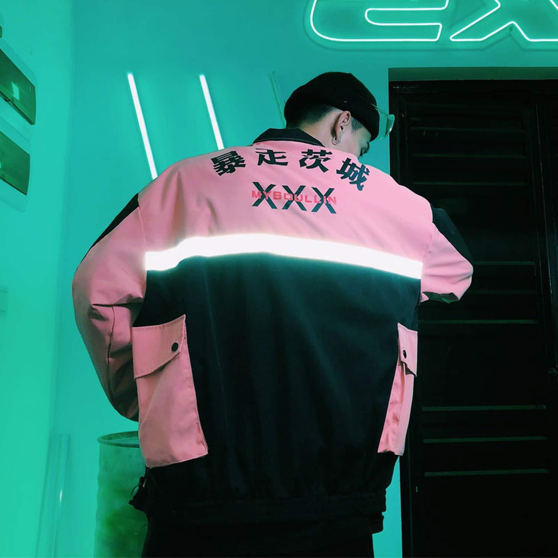 FeiGe Mens Side Pockets Reflective Stripe Windbreaker Track Jackets Full Zip Streetwear