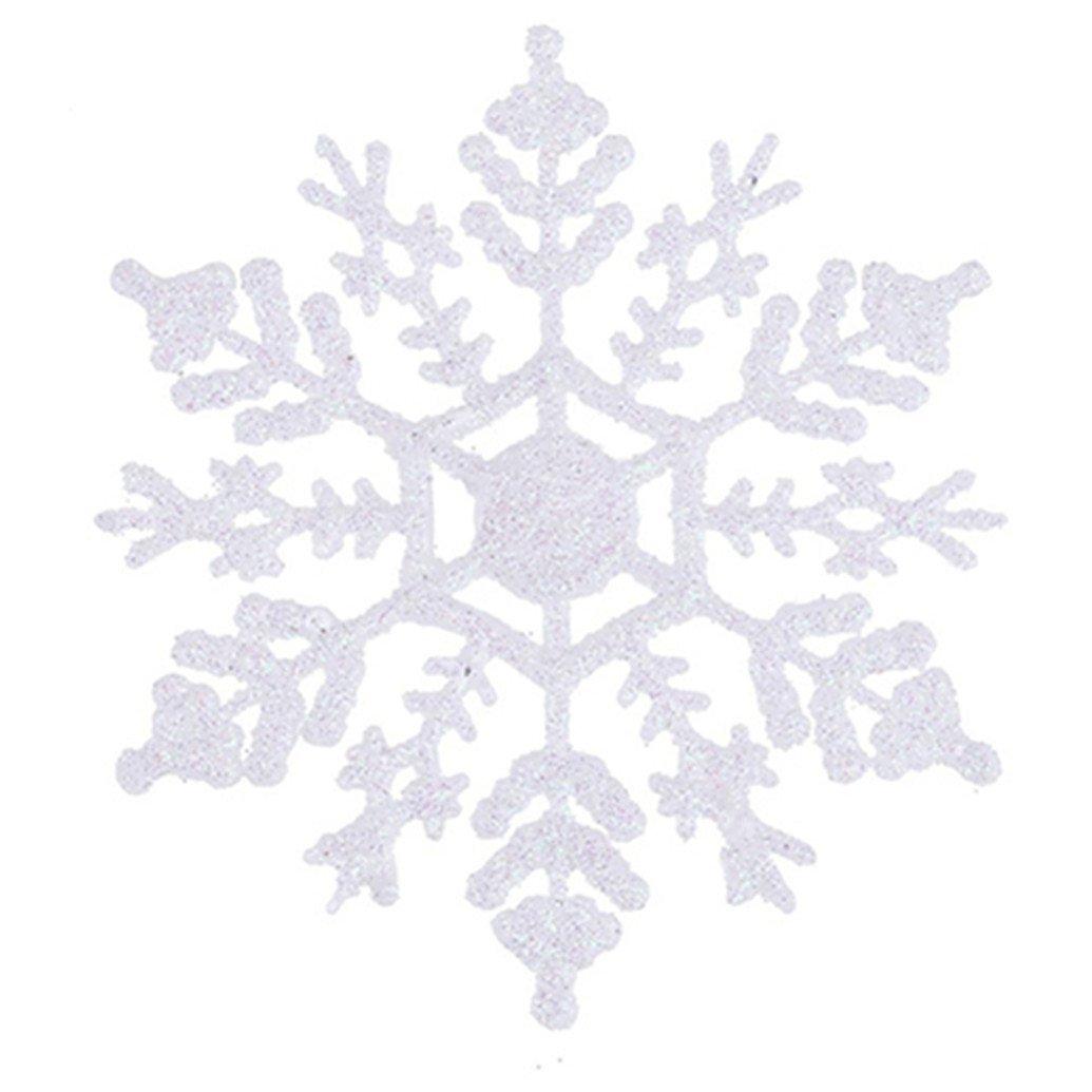 Christmas Decorations - Confezione da 12 fiocchi da neve bianchi luccicanti per l'albero di Natale PMS International 551/084