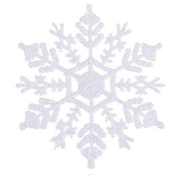 toyland pack of 12 white gliitery snowflake christmas tree trims