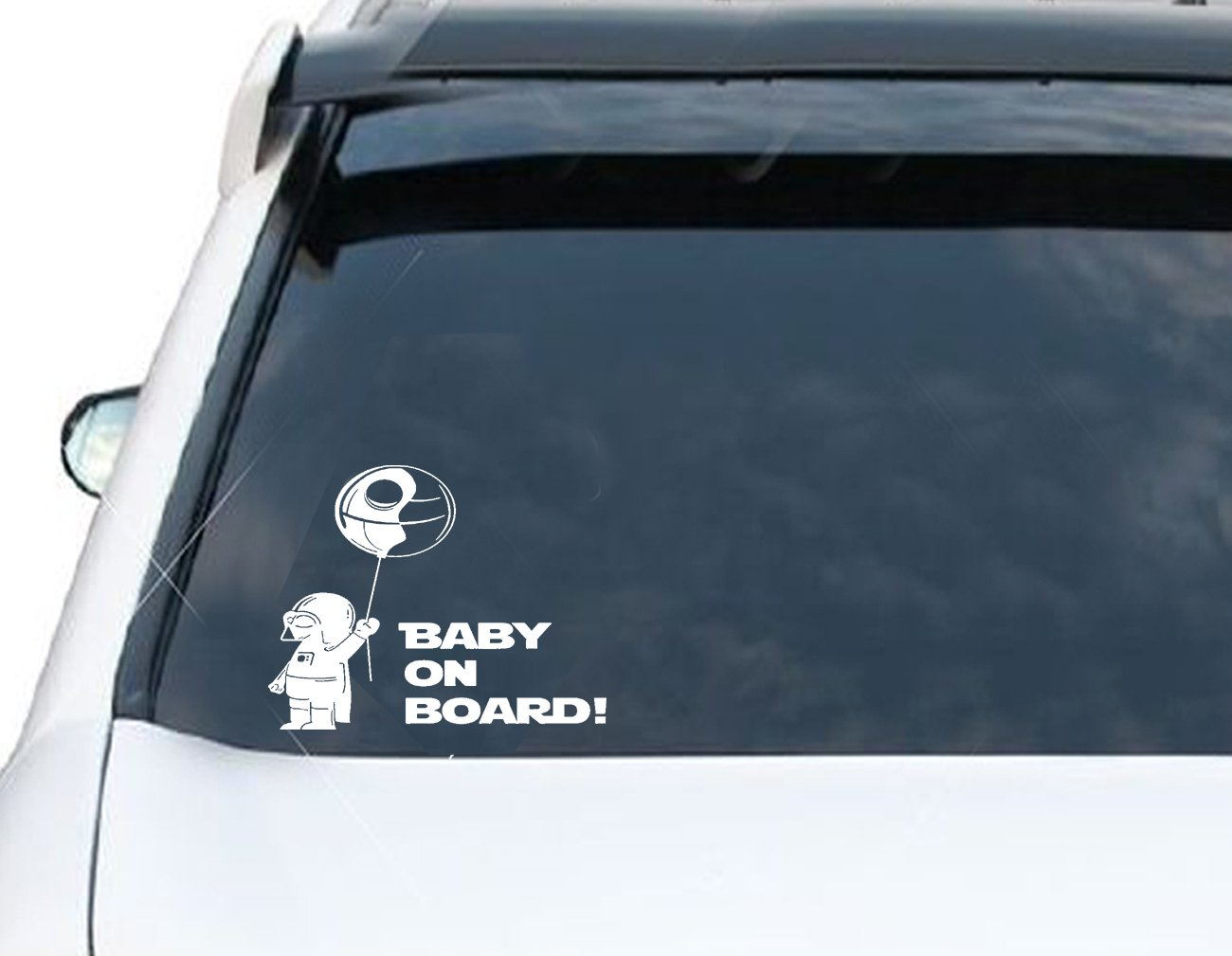 Darth Vader Baby on board Car Decal Sticker 8in X 8in BLACK or WHITE