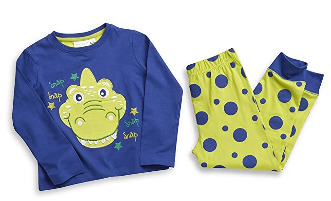 Minikidz niños dinosaurio largo pijama, diseño de lunares, color azul y verde Azul azul