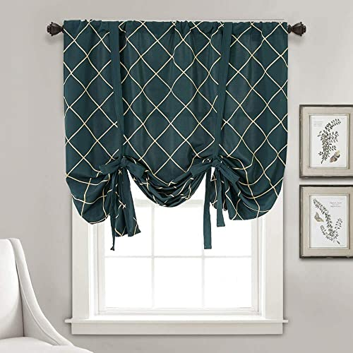 Blackout Kitchen Hunter Green Tie Up Curtains Geometric Valance Drapes for Bathroom Windows Embroidered Window Treatments Thermal Insulated Rod Pocket Curtains for Bedroom Living Room 63 Inch Length