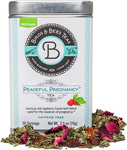 Birds Bees Teas – Peaceful Pregnancy Tea, Red Raspberry Leaf Tea That is a Nourishing and Safe Prenatal Tea for Your First Trimester Through Third Trimester – 30 Servings, 2.5 oz
